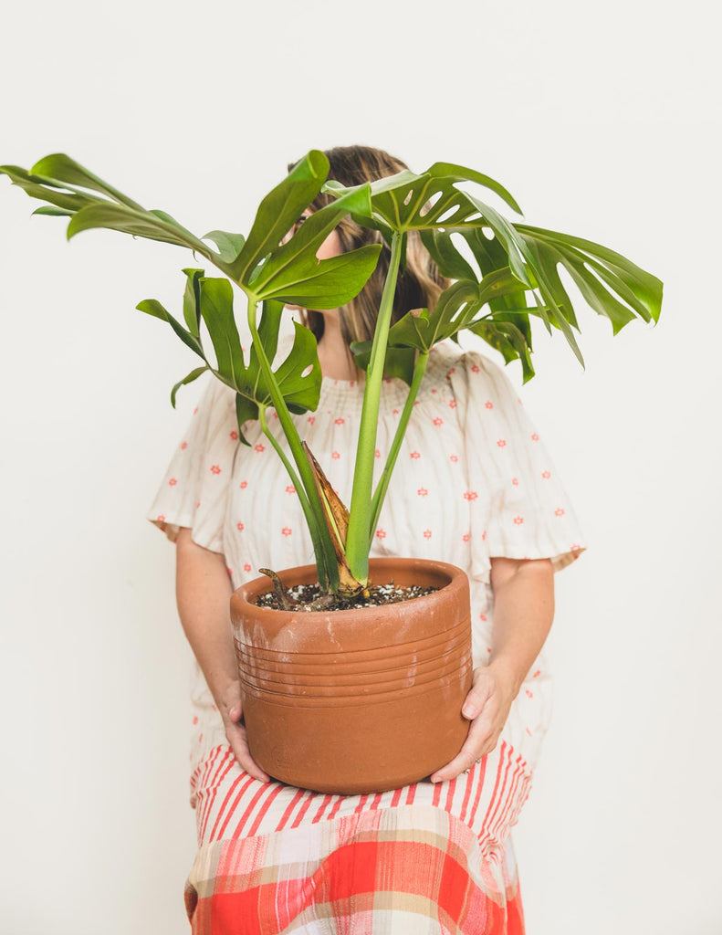 photo of Erin Harding holding a plant in her lap