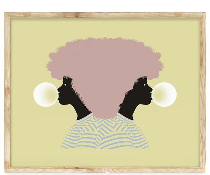 an art print that depicts a girl with a pink afro, blowing a bubble