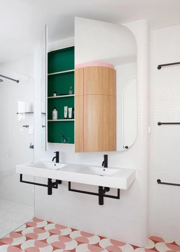green and pink bathroom