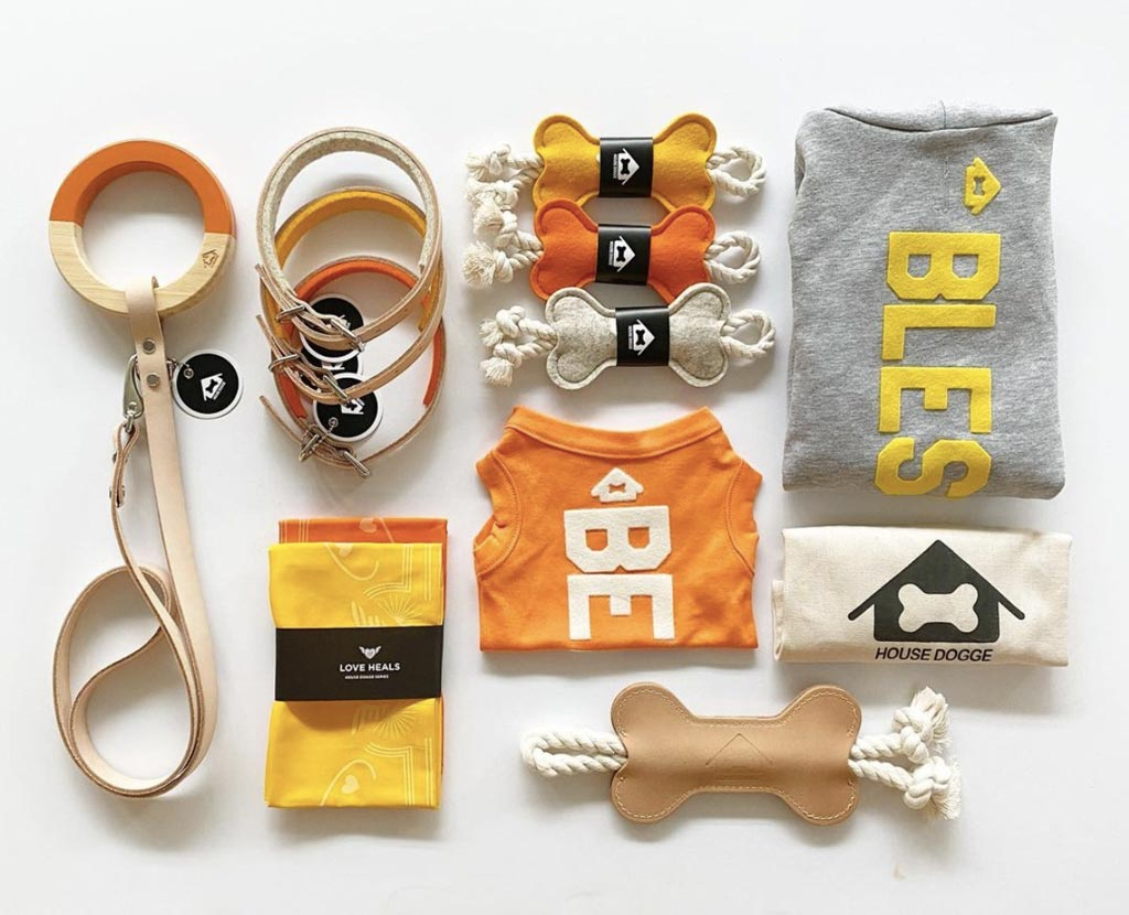 looking down onto a collection of orange, yellow and grey leashes, dog tug toys, dog hoodies and kerchiefs