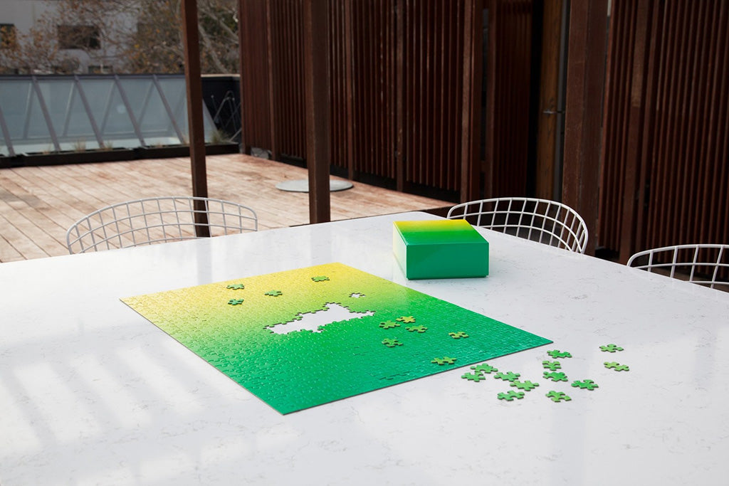 spring, green, gradient, puzzle, uplift, outdoors, wire chairs, marble table, patio, challenge
