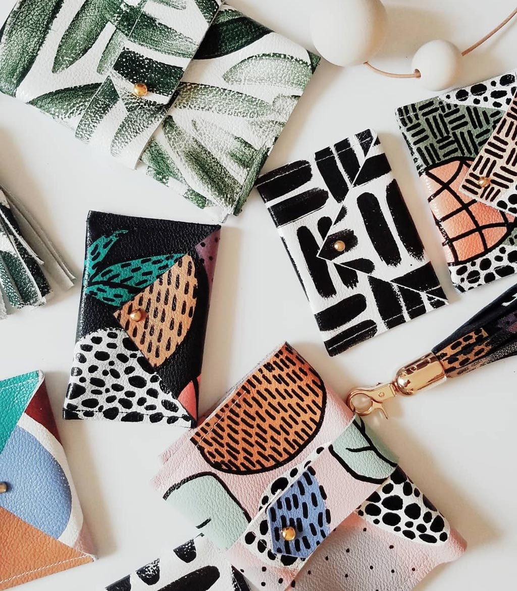little hand-painted pouches-credit card sized