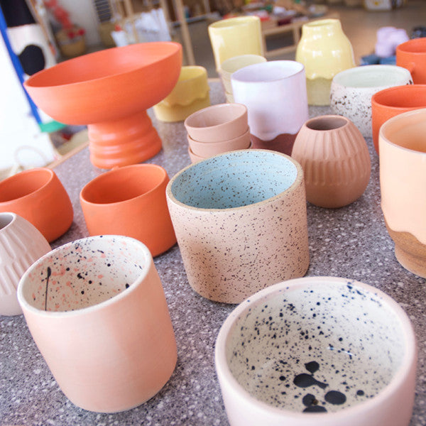 peach and coral ceramics in the color + clay pop up in portland oregon