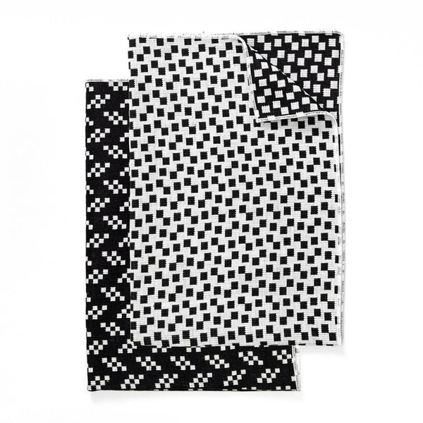 Bitmap Tea Towels Bits and Static Black and White