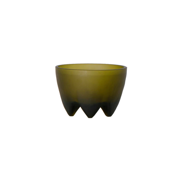 Glass Footed Bowl Olive