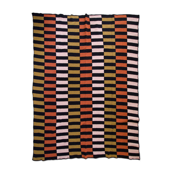 Lanai Knit Throw Blanket in Black / Blush