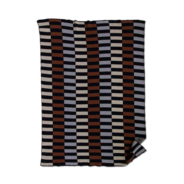 Lanai Knit Throw Blanket in Black / Cinnamon / Dove
