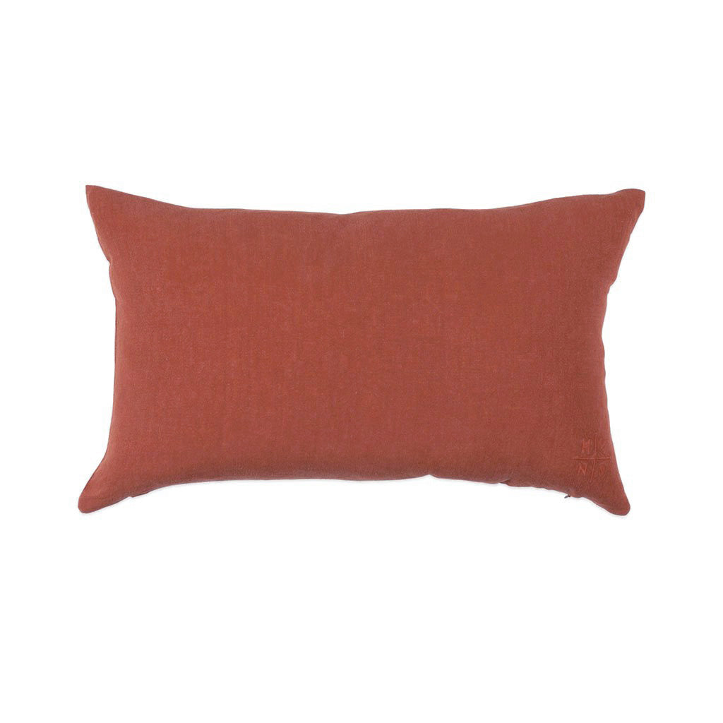 Simple Linen Bolster Pillow Terracotta