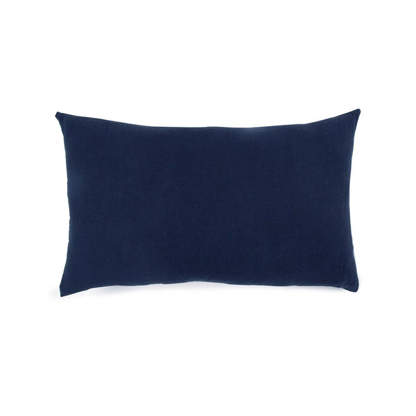 Simple Linen Bolster Pillow Navy
