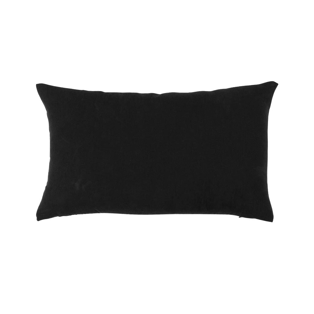 Simple Linen Bolster Pillow Black