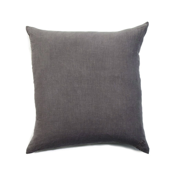 Simple Square Linen Pillow Dark Grey