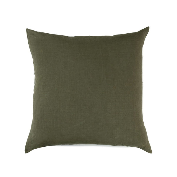 Simple Square Linen Pillow Olive