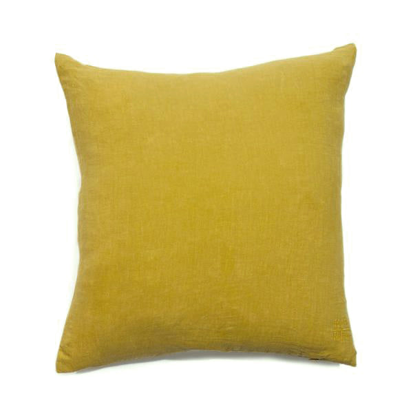 Simple Square Linen Pillow Mustard