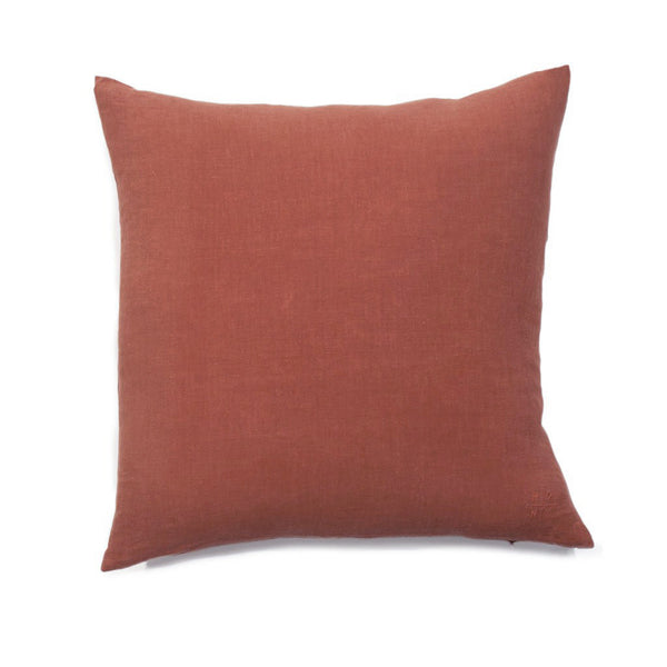 Simple Square Linen Pillow Terracotta