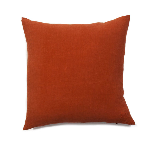 Simple Square Linen Pillow Rust
