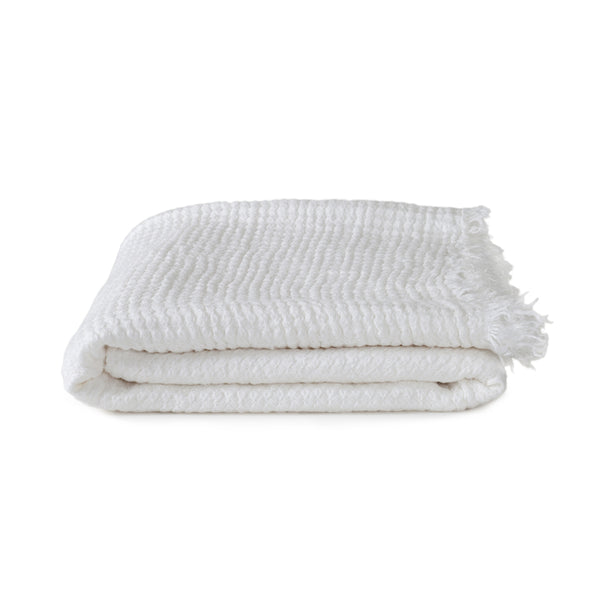 Simple Linen Throw White