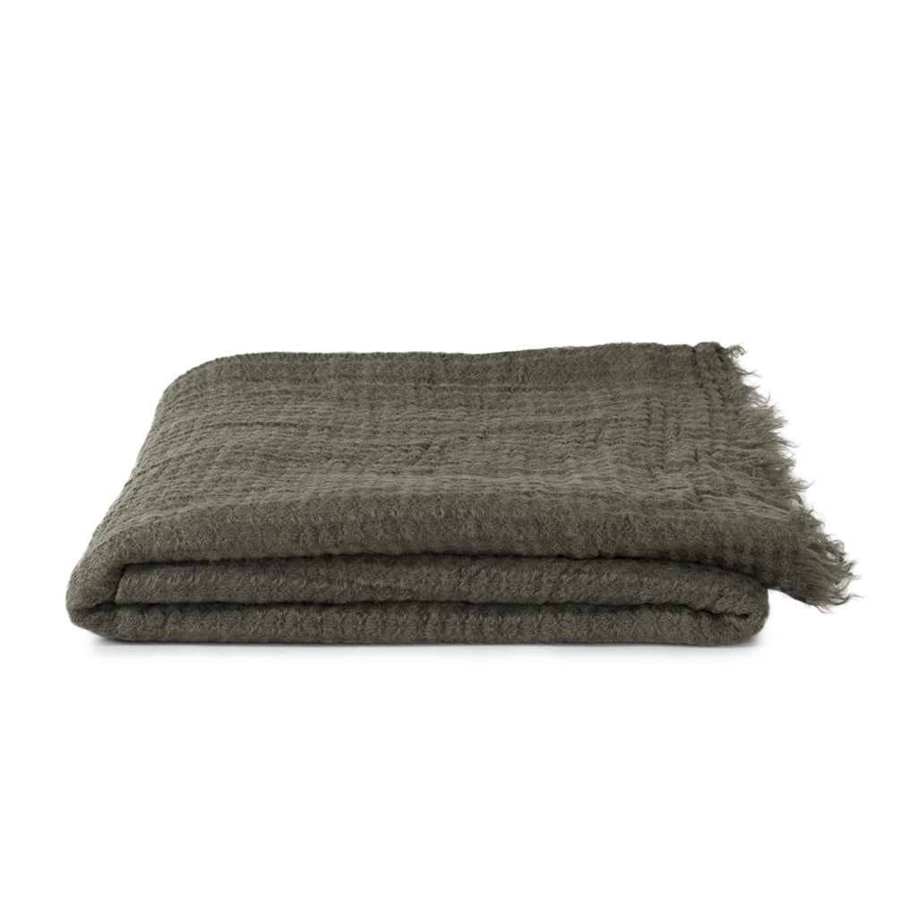 Simple Linen Throw Olive