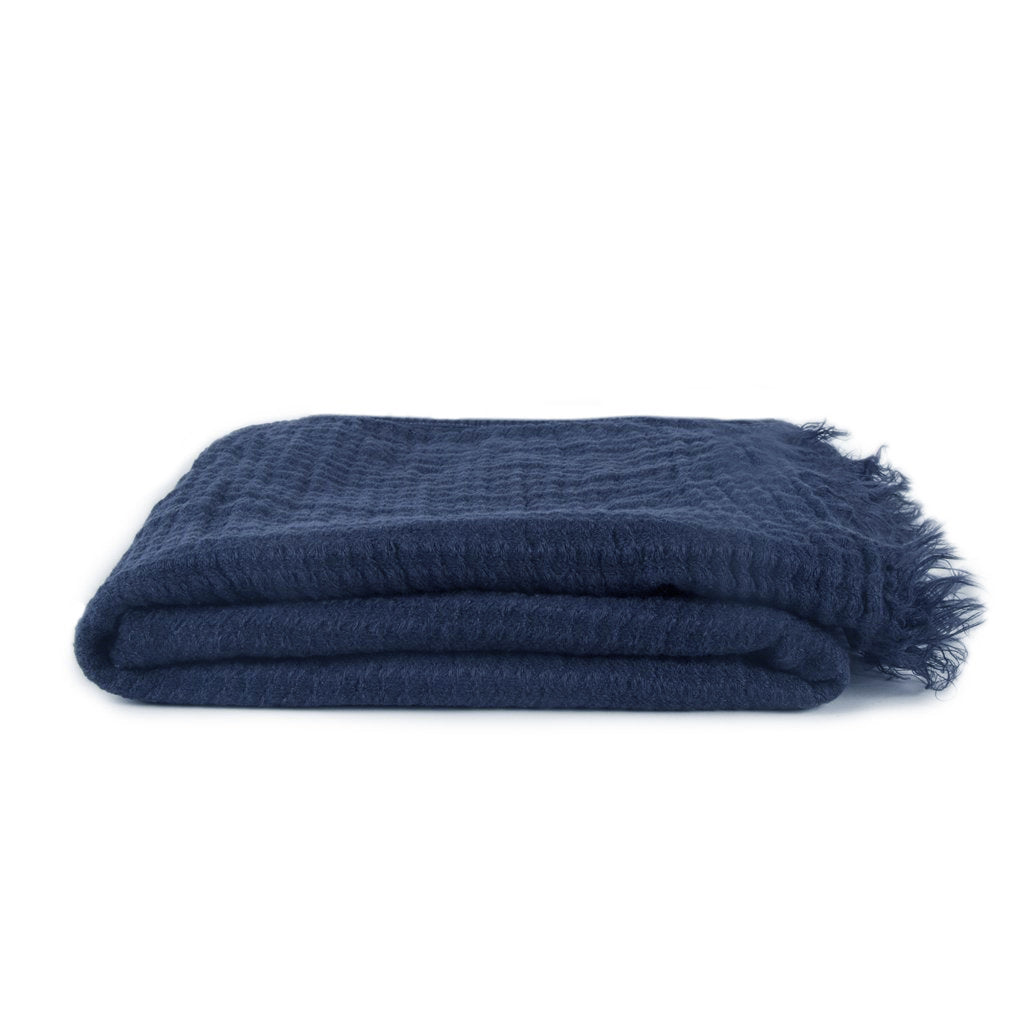Simple Linen Throw Navy