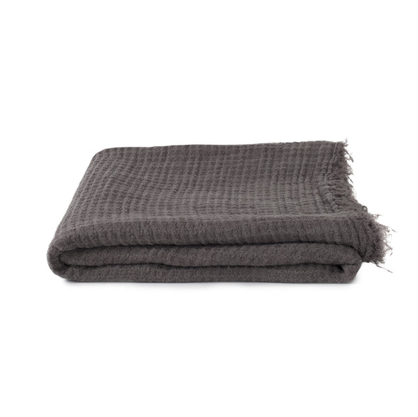 Simple Linen Throw Dark Grey