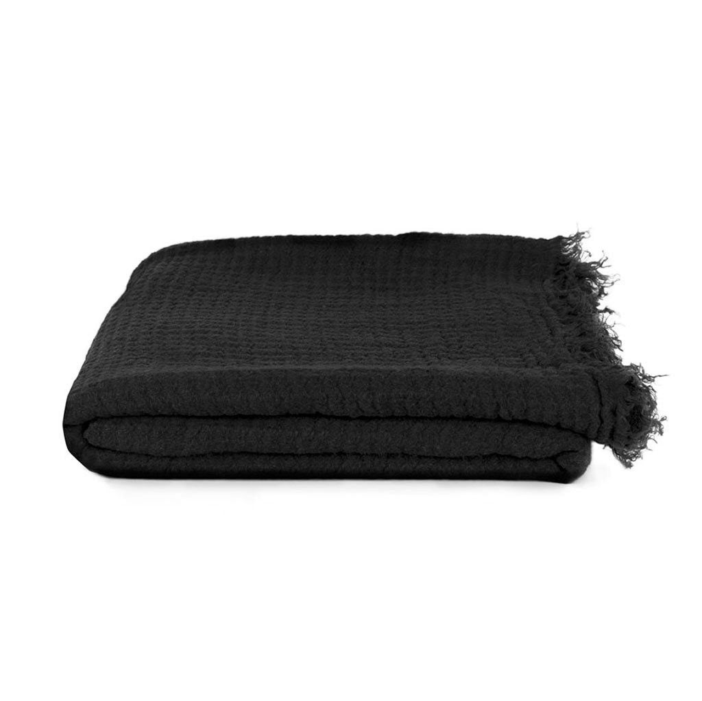 Simple Linen Throw Black