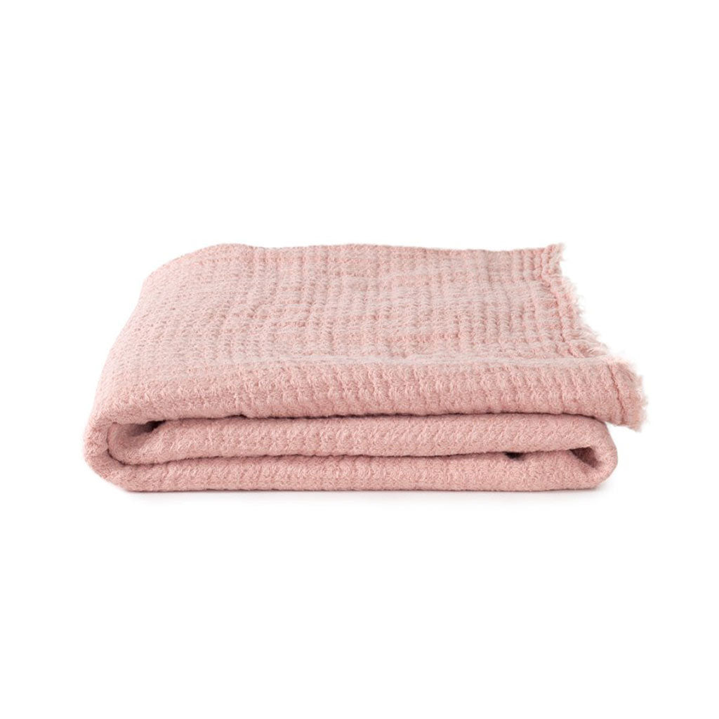 Simple Linen Throw Blush