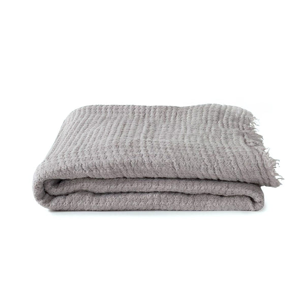 Simple Linen Throw Light Grey