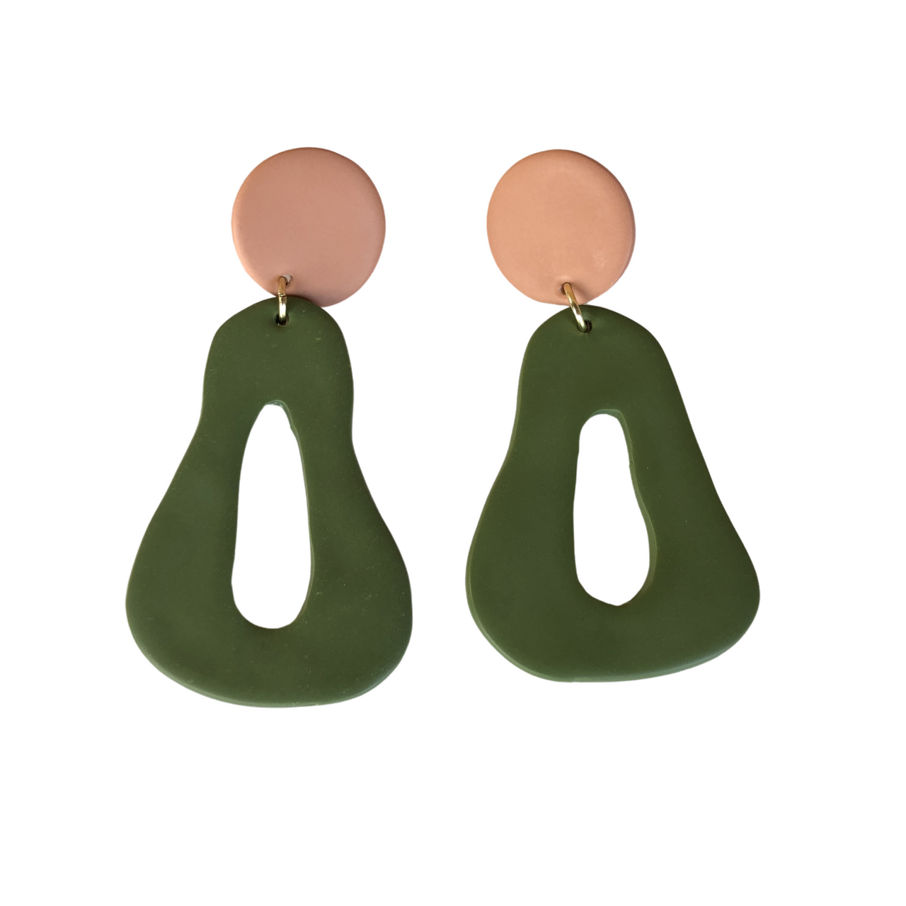 Clay Hourglass Hoops Blush/Olive