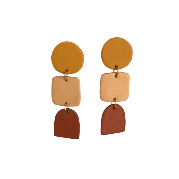 Clay Geometric Tricolor Earrings Mustard/Rust