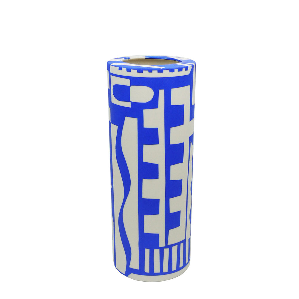 A blue and white hand painted vase.