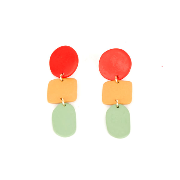 Clay Geometric Tricolor Earrings Cherry/Sage