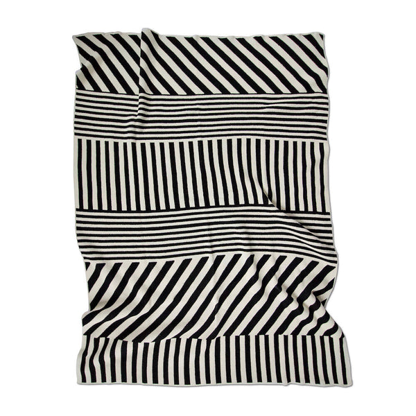 Mixed up Stripes Throw Blanket in Black