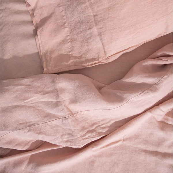Simple Linen Bedding - Blush