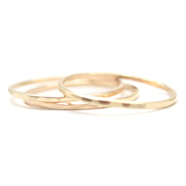 Hammered Slim Stacking Rings - Woonwinkel