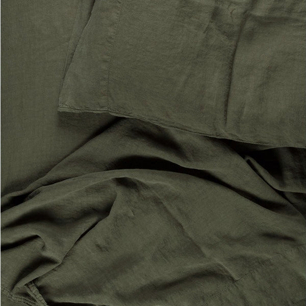 Simple Linen Bedding - Olive