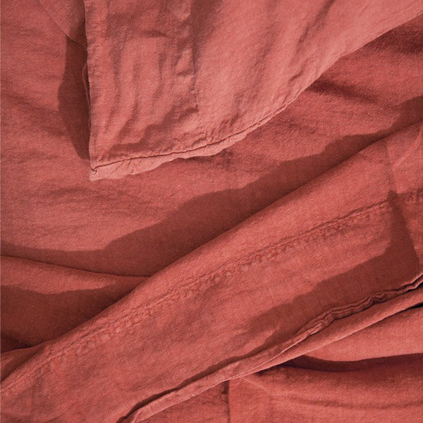 Simple Linen Bedding - Terracotta