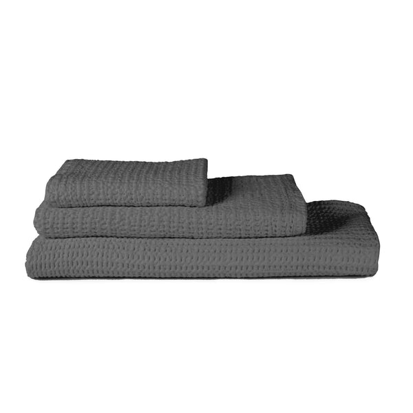 Simple Waffle Towels - Dark Gray