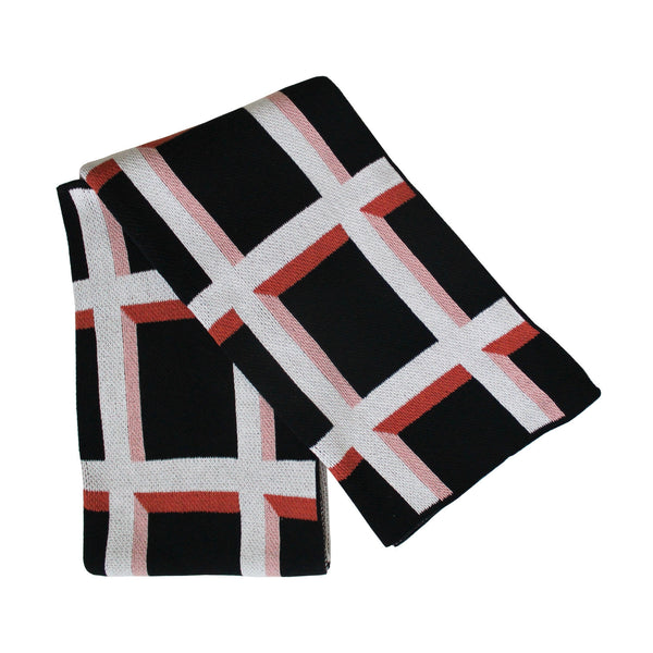 Windowpane Knit Throw Blanket in Blush / Black / Terracotta