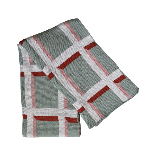 Windowpane Knit Throw Blanket in Pale Green / Blush / Terracotta