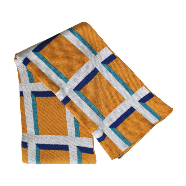 Windowpane Knit Throw Blanket in Sunny / Royal / Turquoise