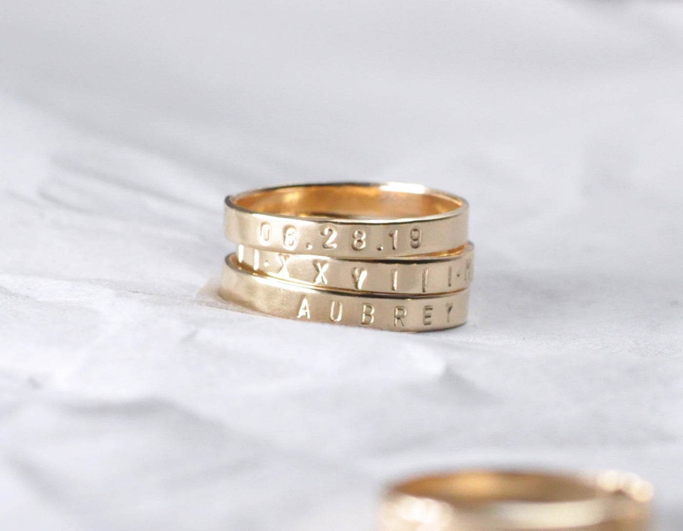 Aven 3 mm Personalized - 14K Yellow Gold Ring