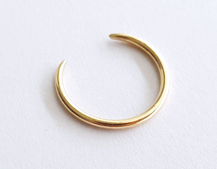 stacking ring, 14k yellow gold ring, open ring, hand forged gold ring