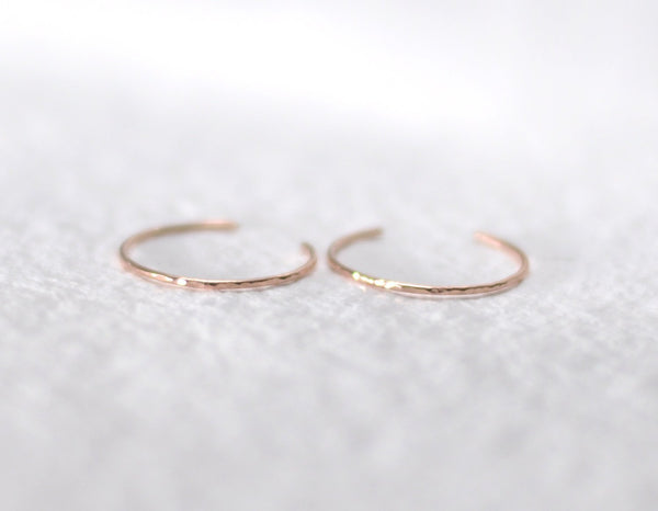 14k rose gold earrings, delicate hoops, hammered earrings