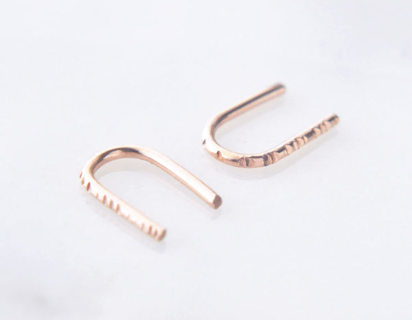 14k rose gold u earrings, textured rose gold earrings, pink gold bar earrings, karat1424