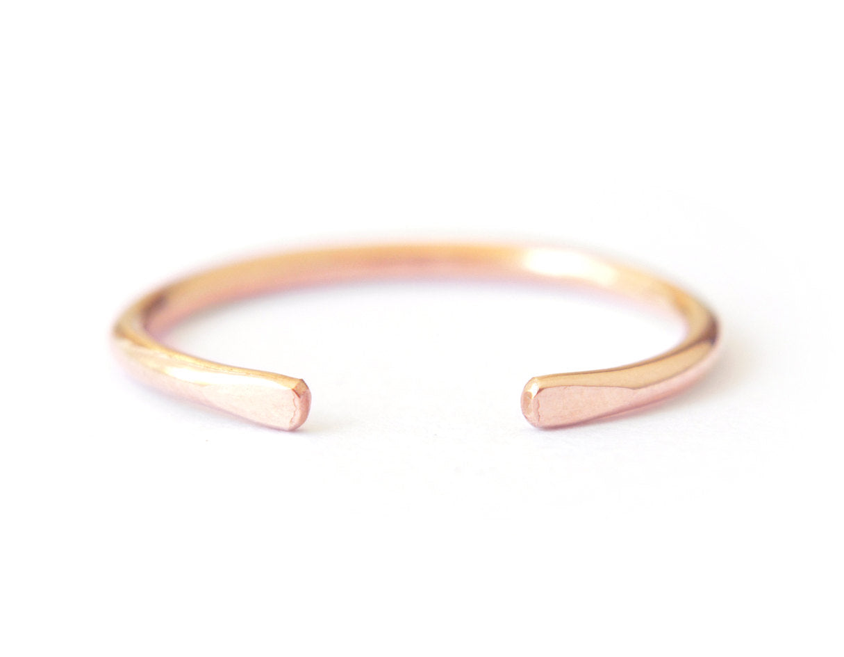 14k rose gold ring, stacking ring, simple ring, simple wedding ring for women, karat1424