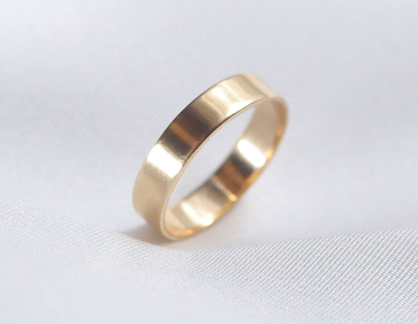 14 karat yellow gold ring, 14k solid gold ring for men, 14 kt gold band unisex, karat1424