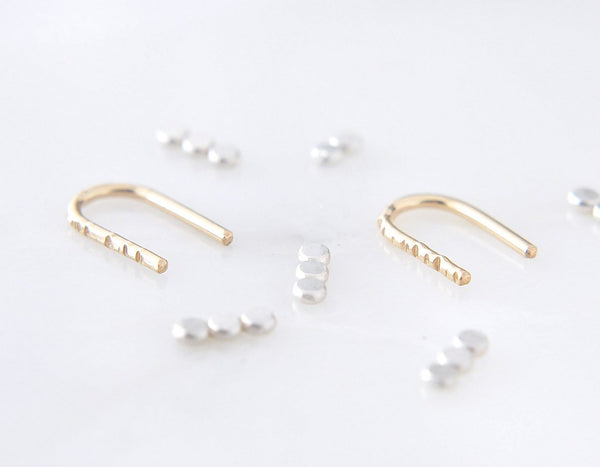 textured bar earrings, small earrings, sleeper earrings, simple earrings, karat1424