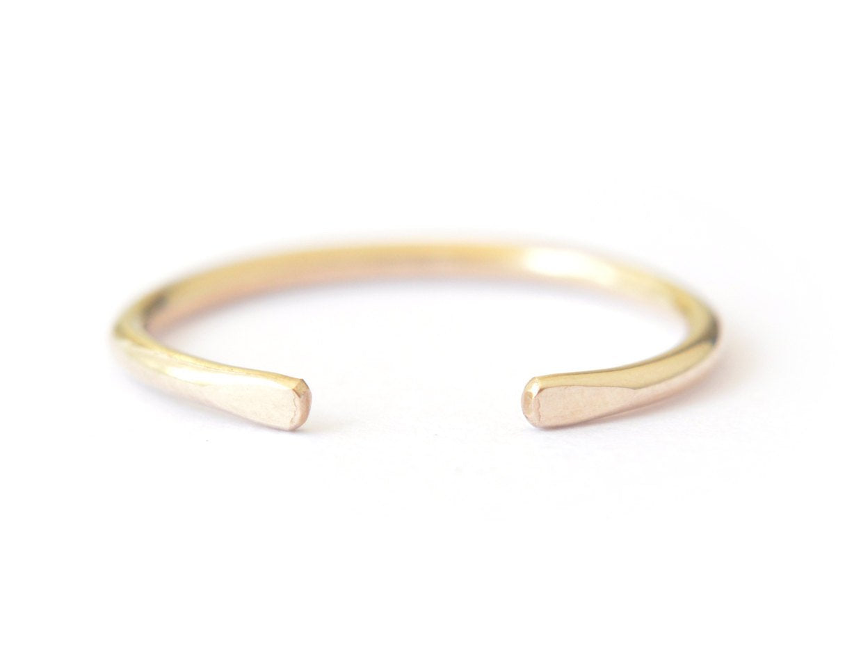 14k yellow gold ring, stacking ring, simple ring for her, 14 karat open ring