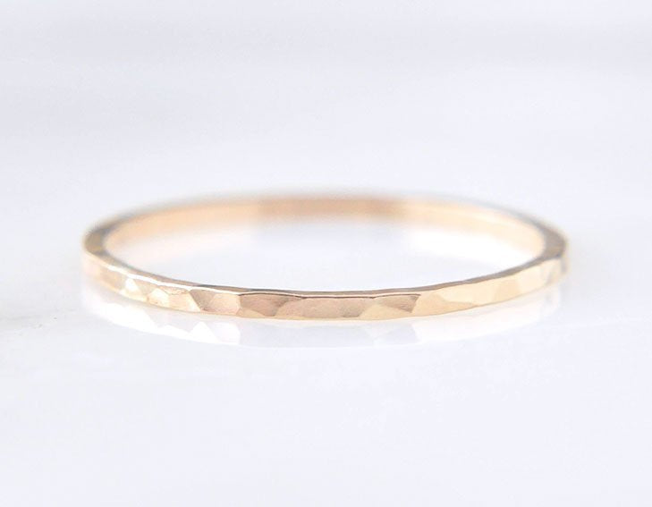 14k yellow gold ring, everyday ring, delicate gold wedding band