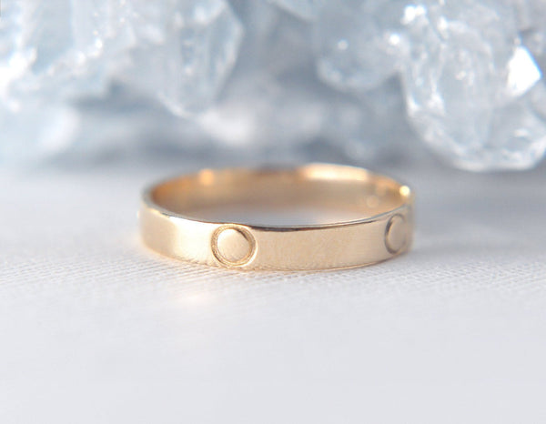 Aven 3 mm Pattern - O Symbol - 14K Yellow Gold Pattern Ring