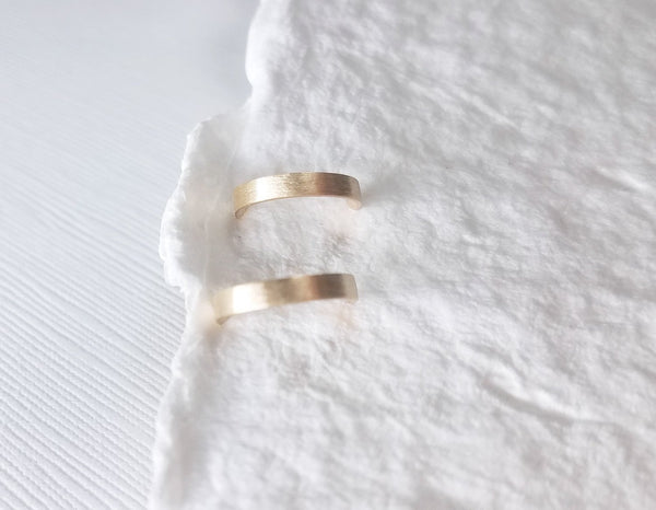14k yellow gold earrings, semi hoops, dainty earrings